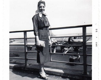 At the Airport vintage photo Pretty Woman American Airlines Airplane 1955 snapshot