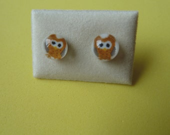 Dichroic Glass Stud Earrings Surgical Steel Hypoallergenic Little Brown Owl Handmade