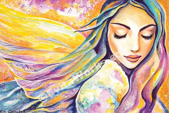Angel of silence, inspirational art, watercolor painting, spiritual painting, divine feminine, healing art, poster woman wall, 8x12+