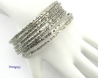 Bangle Bracelets silver tone etched 1940