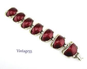 Vintage Bracelet Red Chunky 1950