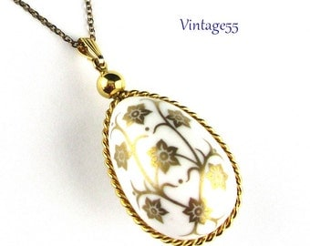 Egg Pendant Necklace Porcelain Gold Floral
