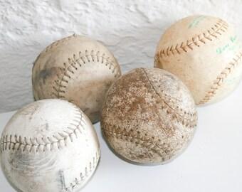 Four Vintage Softballs Baseballs