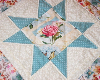 Quilted Table Runner / Floral Star Topper   18 1/2 x 18 1/2 inches
