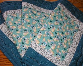 Quilted Table Runner, Butterflies in Aqua and Turquoise,  14 x 40 inches