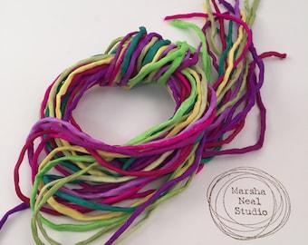 Silk Ribbon Cord Bundle Item No.402 Contains Ten 2mm Silk Ribbons Random Colors