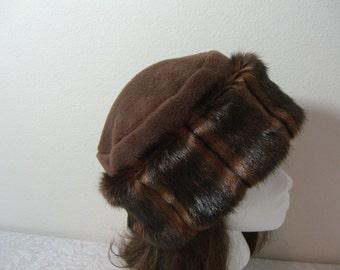 Rich Chocolate Brown FAUX FUR HAT Pillbox, Women's Fur Hat, Fur Hat, Brown Mink Fur Hat, Winter Fur Hat