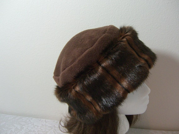 Rich Chocolate Brown FAUX FUR HAT Pillbox, Women's Fur Hat, Fur Hat, Brown Mink Fur Hat, Winter Fur Hat