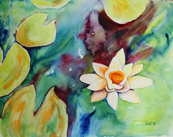 ORIGINAL Waterlilies Water Lilies painting watercolor 9x12