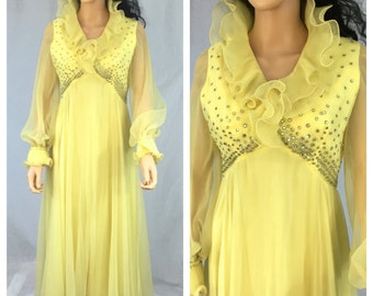 Vintage Yellow Maxi Dress. Size Small. Rhinestones. 1960s. High Collar. Formal. Long Sleeve. Wedding. Ruffled Collar. Dancing. Lemon Yellow.