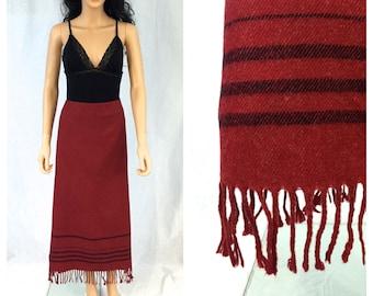 Vintage Long Red Fringe Skirt. Size 16. Holiday. Christmas. Winter Skirts. 1990s. Red. Festive. Classic Long Skirt