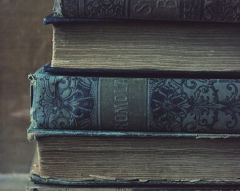 """Still Life Photography, Books, Antique, Library, Rustic, Shabby Chic, Blue, Gray, Brown, 6x9 or 8x12. """"Stacks, No.1""""."""