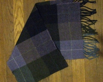 Vintage Bill Blass Pure Wool Plaid Scarf - Made in France