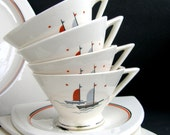 "RESERVED for C**** B********* Atomic Art Deco Salem ""Sailing Ships"" Sailboats: 4 Streamline Cups, 4 Tricorne Saucers, Moderne Nautical"