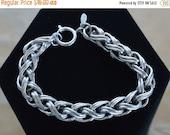 """On Sale Pretty Vintage Silver tone Rounded Rope Link Bracelet, Charm Bracelet, """"Napier"""", 7-1/2"""" (Z13)"""