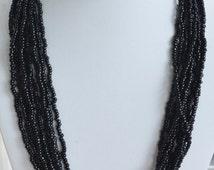 "On Sale Pretty Vintage Black Glass Seed Bead Multi-Strand Necklace, 24"", Trifari"