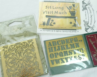 Embossing Stencil Collection, Brass Embossing Stencils, Three Stencils, New in Package, Darice, Lasting Impressions, Anna Griffin, Alphabet