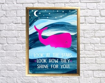 Nautical Nursery Print, Hot Pink Navy Nursery, Look at the stars, Baby Girl Nautical Decor, Beach Cottage Nursery, Seaside Decor, Art Prints