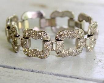 1940s Rhinestone Bracelet Pave Silver Tone Art Deco