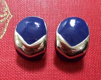 Vintage Chevron Earrings Silver Blue Enameled pierced