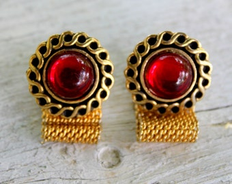 Fancy Cuff links Red Gold Tone Rhinestone Jeweled