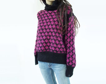 Oversize Sweater 80s Wool Sweater Mohair Sweater Magenta Sweater Purple Sweater Black Wool Sweater Vintage Wool Sweater Dolman Sleeve S / M