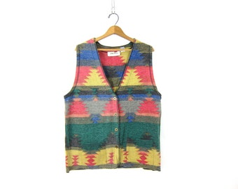 vintage tribal Blanket Vest blue and red Southwestern Print Layering Vest Long Ethnic Pattern top with pockets Women's size Medium Dell's