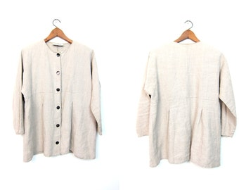 90s Linen Button Up Blouse ALY WEAR Linen Jacket Top Long Sleeve Button Up Minimal Shirt DELLS Vintage Women's Medium Large