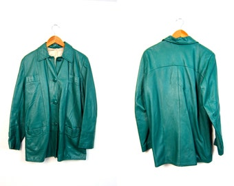70s Leather Coat Teal Green Leather Jacket Vintage Hipster Jacket Long Leather Trench Urban Wear  Women's Medium Large OR Mens Small