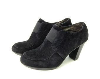 vintage black Suede Leather shoes Chunky ankle Loafer Shoes Dress Up Goth Secretary Work Pumps High Heels womens size 9 9.5