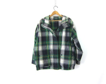 Vintage blue and green plaid jacket Oversized parka jacket Slouchy spring coat Ralph Lauren Snap Up Coat women's size Small