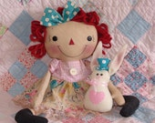 Primitive Raggedy cloth doll, Finished doll set, Easter raggedy with bunny