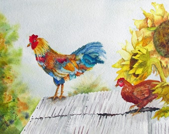 Rooster On The Roof, archival watercolor print, matted, ready to frame, 8x10