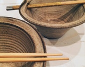 Handmade vintage noodle bowls with chopsticks ramen bowls chinese food bowls asian bowls