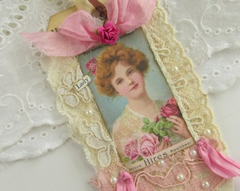 French Gift Tag, Vintage Advertising, Mixed Media Tag, Lace Gift Tag, Vintage Tag