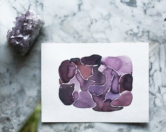 plum tickled by Jules Tillman purple abstract watercolor art. original painting SFA violet