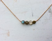 Brass Honeycomb and Labradortie Minimalist Necklace -  Stone and Hexagon Choker - Crystals Necklace - Raw Stone Jewelry - Natural Stone