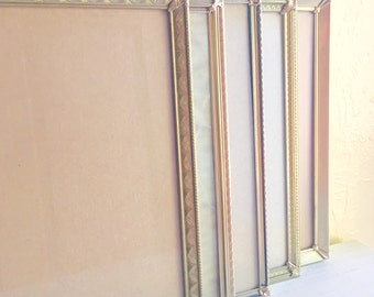 Set of 8x10 Unique Filigree Corner Gold Metal Picture Frames 5 Count