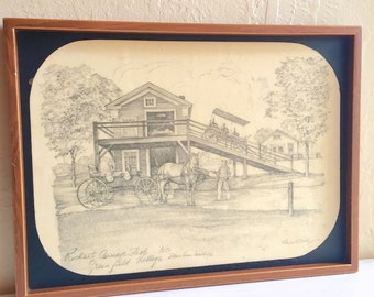 Vintage Art Drawing Framed Wood Picture Frame Wall Hanging Black and White Sepia