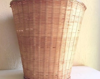 Vintage Woven Basket Planter Waste Basket Trash Can Natural Large