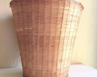 Vintage Woven Basket Planter Waste Basket Trash Can Natural Large
