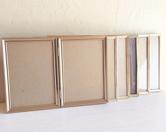 Set Vintage Gold Metal Hinged Picture Frames 5x7 Bi-folds 6 Six