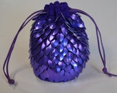 Scalemail Dice Bag of Holding in Knitted Dragonhide Armor Purple custom for G.
