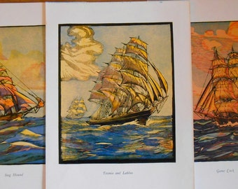 Clipper Collection, Set of 3 Ship prints, Nautical art, Vintage 1936