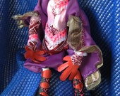 Day of Dead Purple Lady, Purple and Orange Day of Dead lady, DoD lady with cape, Art doll, Halloween, Bright Goth, Noir