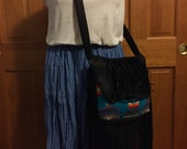 Leather and Wool Fringe Lovers Cross Body Purse XL