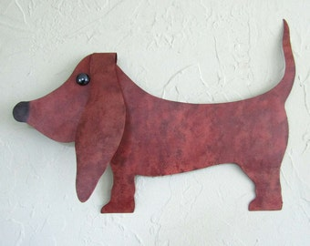 Metal Wall Art Basset Hound Wall Sculpture Animal Decor Indoor Outdoor Wall Art Recycled Metal Sculpture 11 x 16 Brown