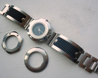 De Longe Watch - Chunky - Punk Rock - Changeable Bezels - 1980s.