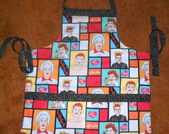 I LOVE LUCY APRON Fully Lined, Three Large Pockets (Also Lined)