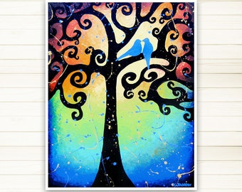 Love Birds Art Print, Archival Print from Original Painting, Tree of Life Wall Art, Signed